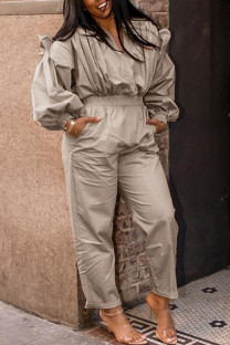 Khaki Casual Solid Split Joint Fold V Neck Straight Jumpsuits
