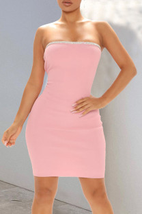 Pink Sexy Solid Split Joint Hot Drill Strapless Pencil Skirt Dresses