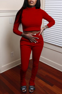 Red Fashion Casual Solid Basic Turtleneck Long Sleeve Two Pieces