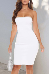 White Sexy Solid Split Joint Hot Drill Strapless Pencil Skirt Dresses