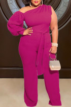 Rose Red Sexy Solid Split Joint Oblique Collar Plus Size Jumpsuits