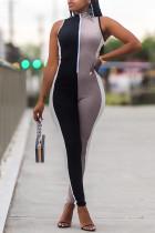 Multicolor Casual Sportswear Patchwork Basic Zipper Collar Skinny Jumpsuits