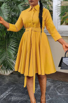Yellow Fashion Casual Solid Basic Turndown Collar Long Sleeve Dresses