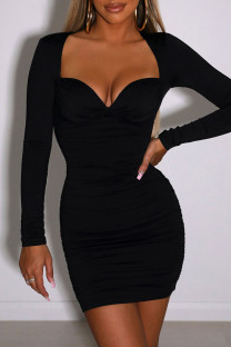 Black Sexy Solid Split Joint Fold Square Collar Pencil Skirt Dresses