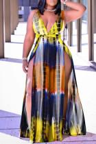Yellow Fashion Sexy Print Tie Dye Slit V Neck Vest Dress