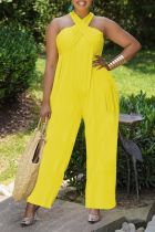 Yellow Casual Solid Split Joint Halter Loose Jumpsuits