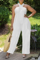 White Casual Solid Split Joint Halter Loose Jumpsuits