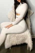White Fashion Sportswear Solid Hollowed Out Split Joint Half A Turtleneck Long Sleeve Two Pieces