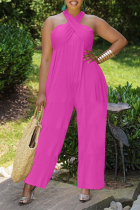Rose Red Casual Solid Split Joint Halter Loose Jumpsuits