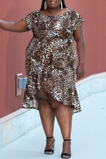 Leopard Print Fashion Plus Size  Print Leopard Split Joint Without Belt O Neck Short Sleeve Dress