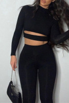 Black Fashion Sportswear Solid Hollowed Out Split Joint Half A Turtleneck Long Sleeve Two Pieces