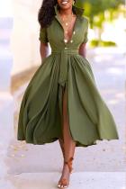 Army Green Casual Solid Split Joint Turndown Collar Cake Skirt Dresses