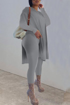 Grey Casual Solid Split Joint Slit O Neck Long Sleeve Two Pieces