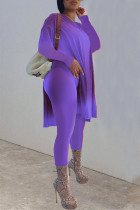Purple Casual Solid Split Joint Slit O Neck Long Sleeve Two Pieces