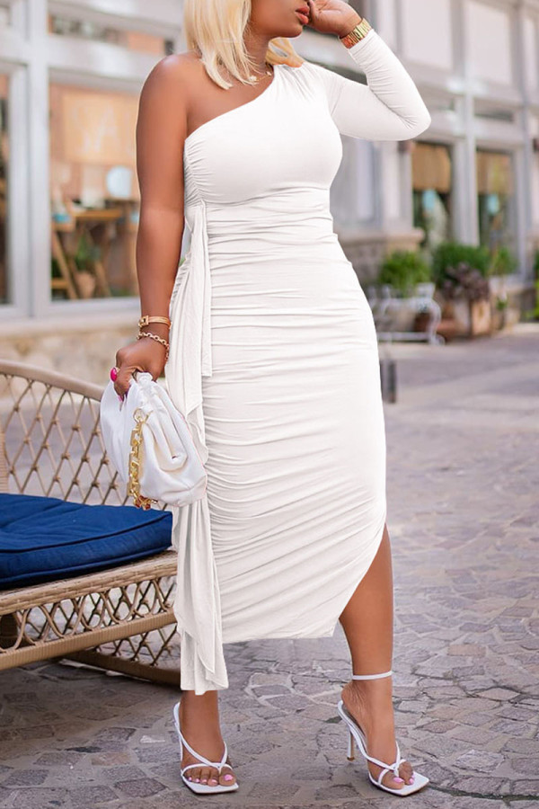 White Sexy Solid Split Joint Flounce Fold Oblique Collar Pencil Skirt Dresses