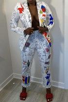 White Fashion Casual Print Cardigan Pants Turndown Collar Long Sleeve Two Pieces