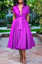 Purple Casual Solid Split Joint Turndown Collar Cake Skirt Dresses