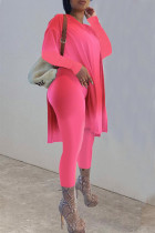 Rose Red Casual Solid Split Joint Slit O Neck Long Sleeve Two Pieces