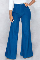 Dark Blue Fashion Casual Solid Basic High Waist Boot Cut Jeans