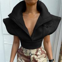 Black Sexy Solid Split Joint Turndown Collar Tops