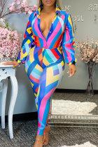 Colour Fashion Casual Print Basic Turndown Collar Long Sleeve Two Pieces