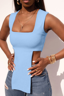 Light Blue Sexy Solid Split Joint Square Collar Tops