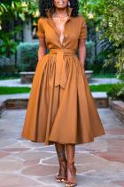 Tangerine Casual Solid Split Joint Turndown Collar Cake Skirt Dresses