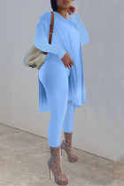 Lake Blue Casual Solid Split Joint Slit O Neck Long Sleeve Two Pieces