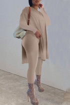 Dark Brown Casual Solid Split Joint Slit O Neck Long Sleeve Two Pieces