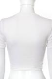 White Sexy Print Split Joint Chains O Neck T-Shirts