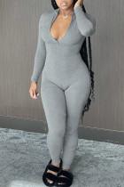 Grey Casual Solid Split Joint Zipper Zipper Collar Skinny Jumpsuits