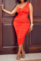 Red Sexy Solid Make Old One Shoulder Pencil Skirt Dresses