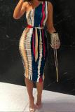 Colour Sexy Print Split Joint One Shoulder Dresses
