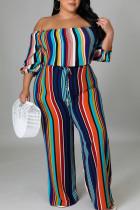Colour Casual Striped Print Split Joint Flounce Off the Shoulder Plus Size Jumpsuits