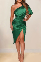 Green Sexy Solid Split Joint Asymmetrical Oblique Collar Irregular Dress Dresses