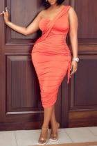 Tangerine Red Sexy Solid Make Old One Shoulder Pencil Skirt Dresses