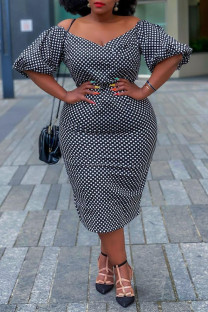 Grey Fashion Casual Dot Print Basic V Neck Short Sleeve Dress Plus Size Dresses