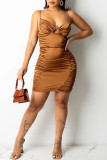 Brown Sexy Solid Hollowed Out Split Joint Spaghetti Strap Pencil Skirt Dresses