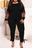 Earth Yellow Casual Leopard Split Joint O Neck Plus Size Two Pieces