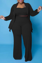 Black Casual Solid Split Joint Plus Size Two Pieces