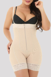 Khaki Fashion Sexy Solid Backless Zipper Bustiers