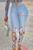 Baby Blue Fashion Casual Solid Bandage Hollowed Out High Waist Regular Jeans(Without Belt)