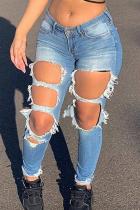 Blue Casual Print Ripped Mid Waist Skinny Denim Jeans