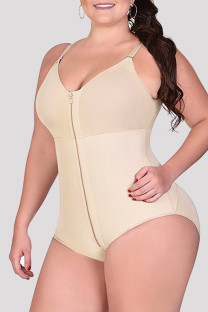Apricot Fashion Sexy Solid Split Joint Zipper Bustiers