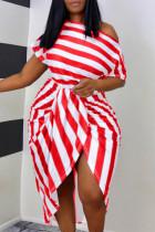 Red Fashion Casual Striped Print Asymmetrical Oblique Collar Short Sleeve Dress Plus Size Dresses