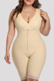 Apricot Fashion Sexy Solid Hollowed Out Split Joint Zipper Bustiers