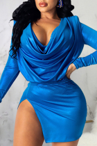 Blue Sexy Solid Split Joint U Neck Long Sleeve Two Pieces