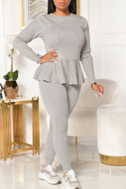 Grey Casual Solid Bandage Split Joint Flounce O Neck Long Sleeve Two Pieces