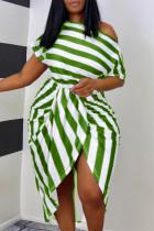 Green Fashion Casual Striped Print Asymmetrical Oblique Collar Short Sleeve Dress Plus Size Dresses