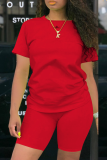 Red knit Sexy Two Piece Suits Solid Patchwork Straight Short Sleeve